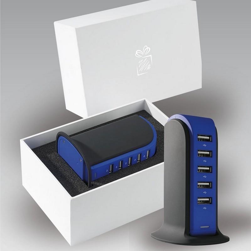Nagy teljesítményű színes töltőállomás 5 USB porttal